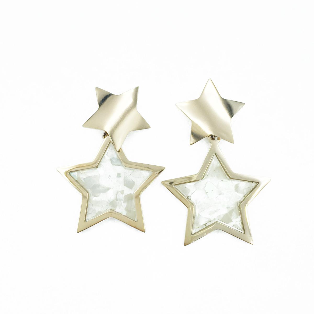 韓國 不鏽鋼 星星造型 玫瑰金 垂墜感 耳針式耳環