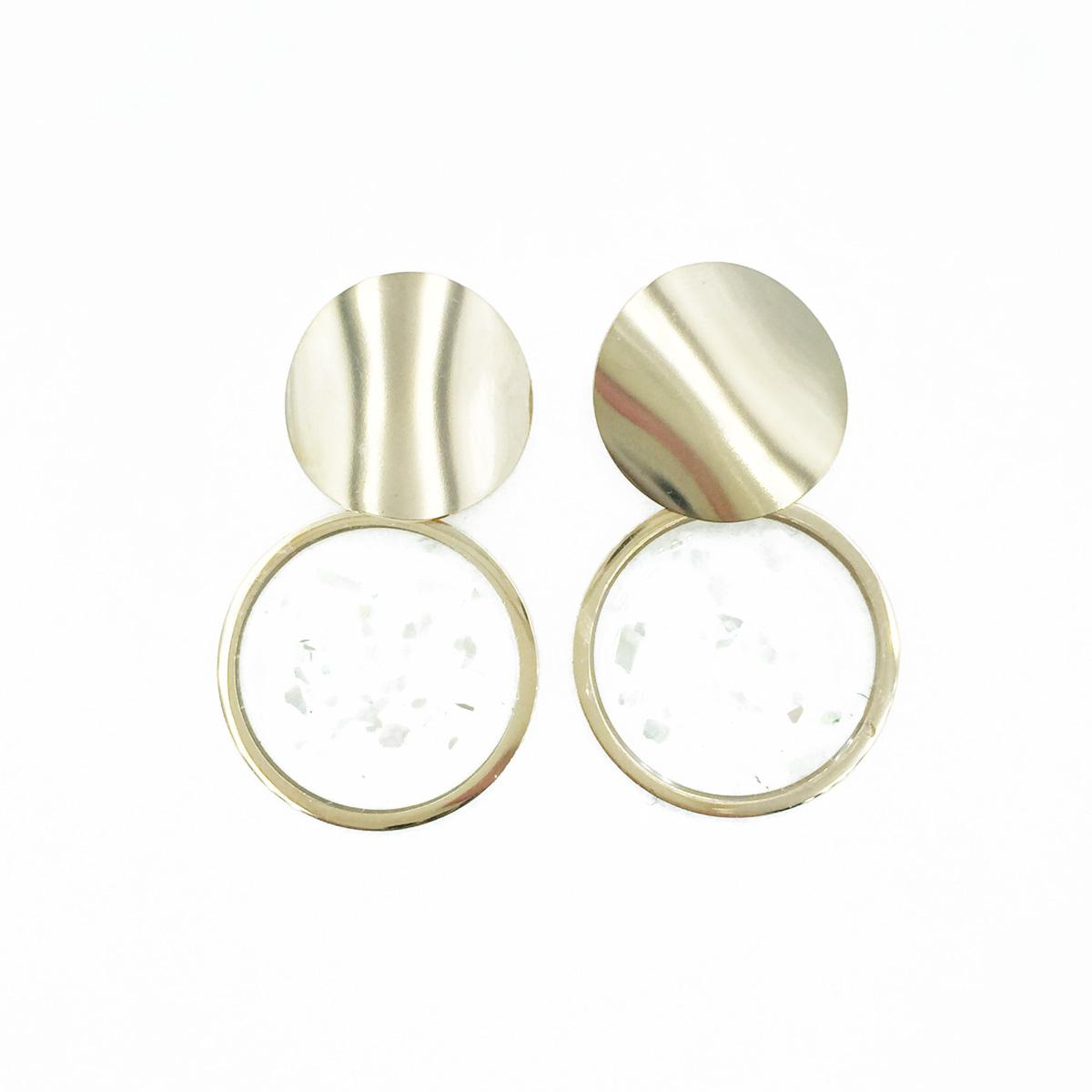 韓國 不鏽鋼 圓 玫瑰金 垂墜感 耳針式耳環