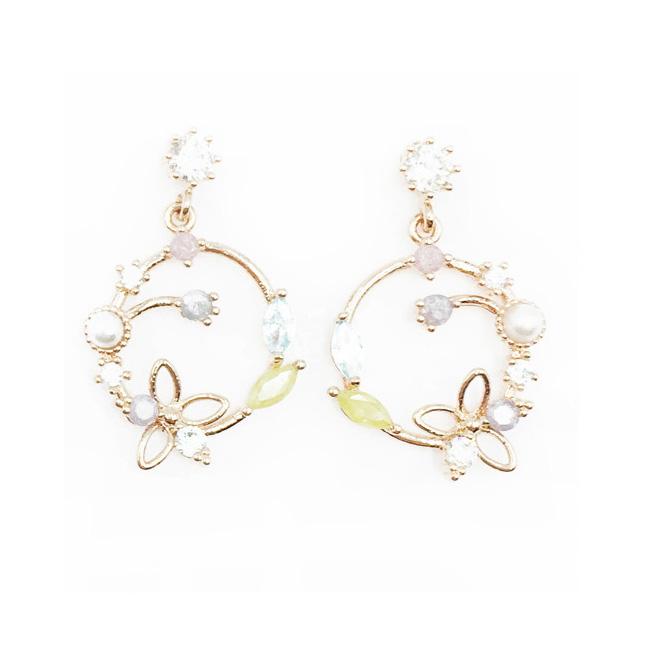 韓國 925純銀 蝴蝶 水鑽 花 垂墜感 耳針式耳環