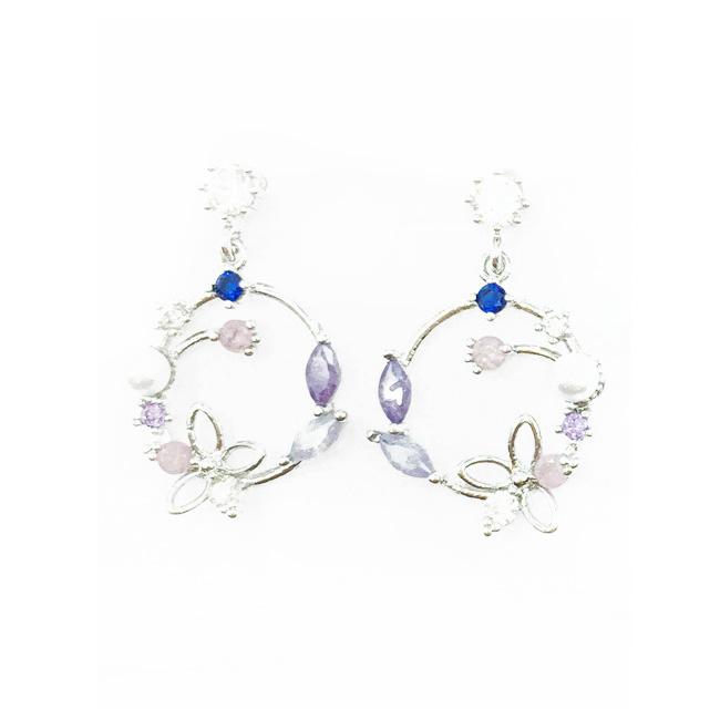 韓國 925純銀 水鑽 爪鑽 小珍珠 垂墜感 耳針式耳環