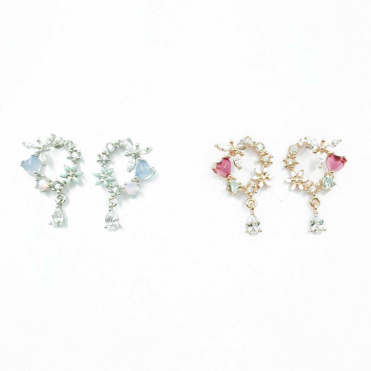 韓國 925純銀 花 水鑽 簍空 2色 垂墜感 耳針式耳環