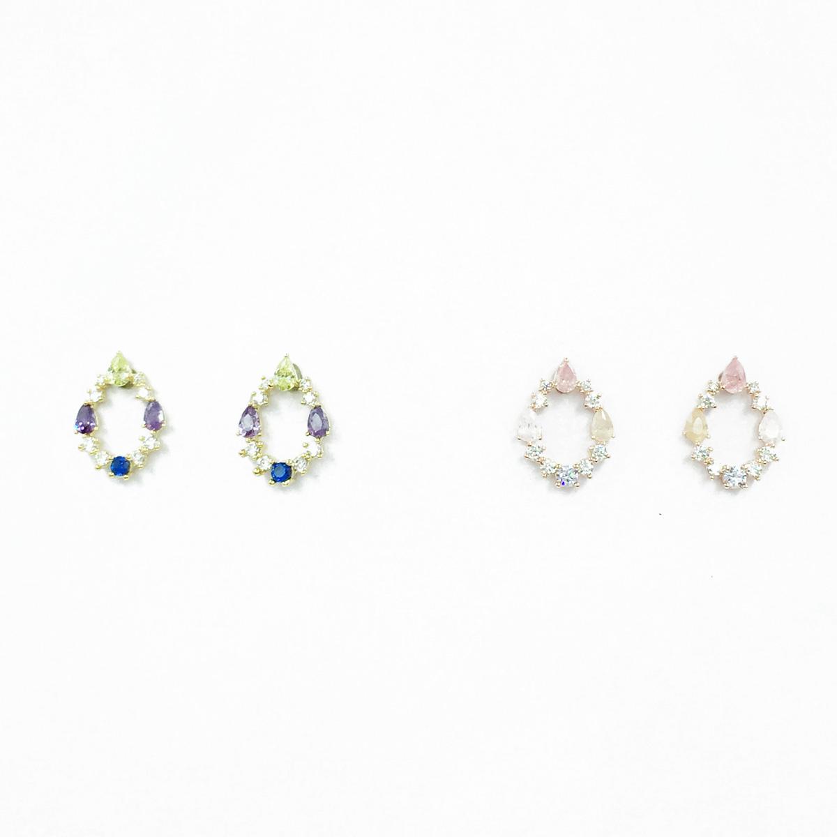 韓國 925純銀 簍空水滴 水鑽 精緻款 2色 耳針式耳環