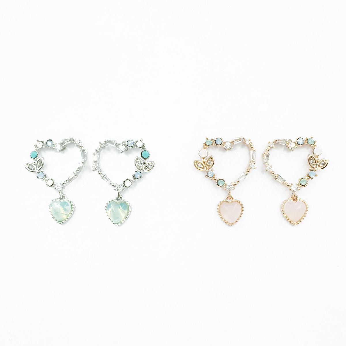 韓國 925純銀 簍空愛心 水鑽 寶石 2色 垂墜感 耳針式耳環