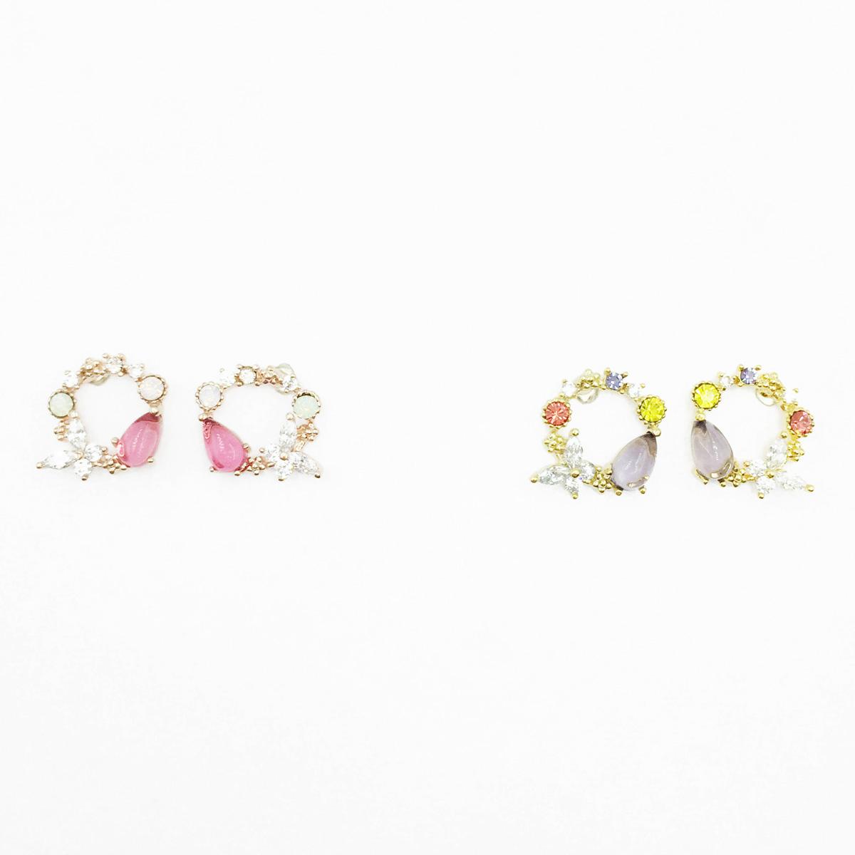韓國 925純銀 蝴蝶 簍空花圈 水鑽 2色 耳針式耳環