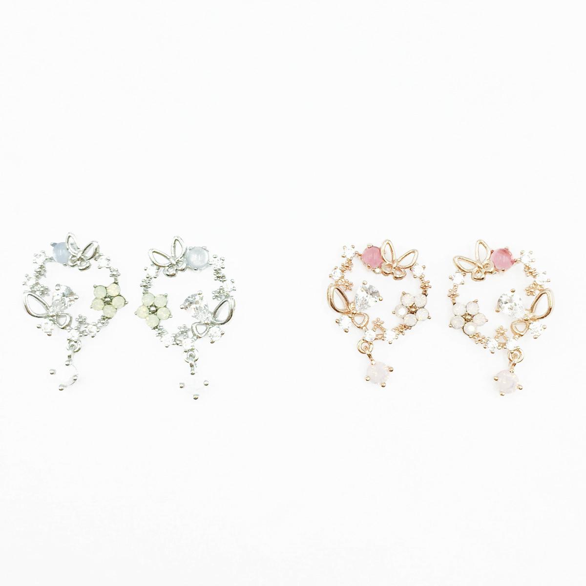 韓國 925純銀 蝴蝶 花 水鑽 2色 垂墜感 耳針式耳環