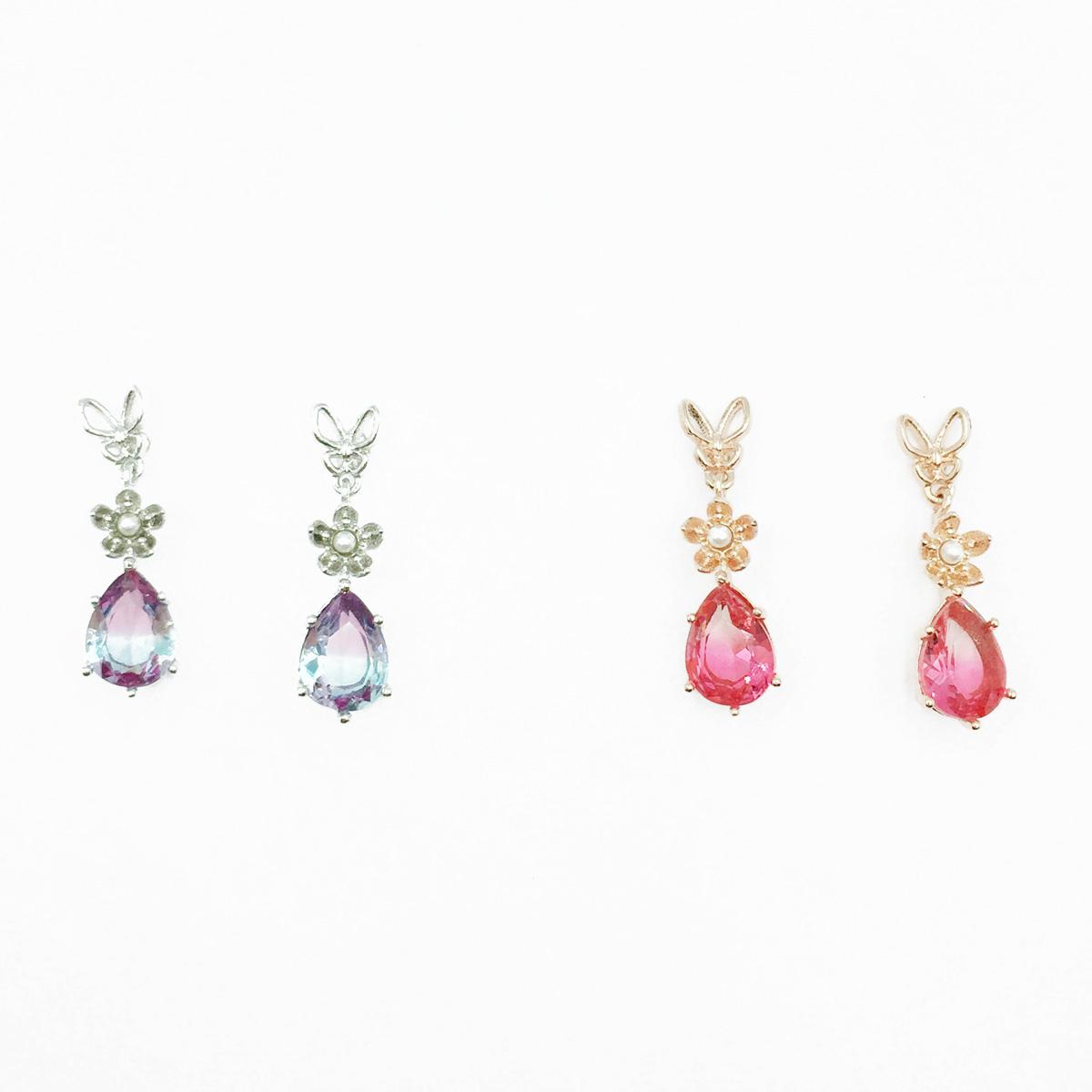 韓國 925純銀 簍空蝴蝶 小花 水滴 2色 垂墜感 耳針式耳環