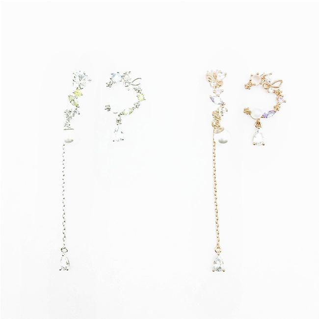 韓國 925純銀 不對稱 C環圈 珍珠 水鑽 2色 垂墜感 耳針式耳環