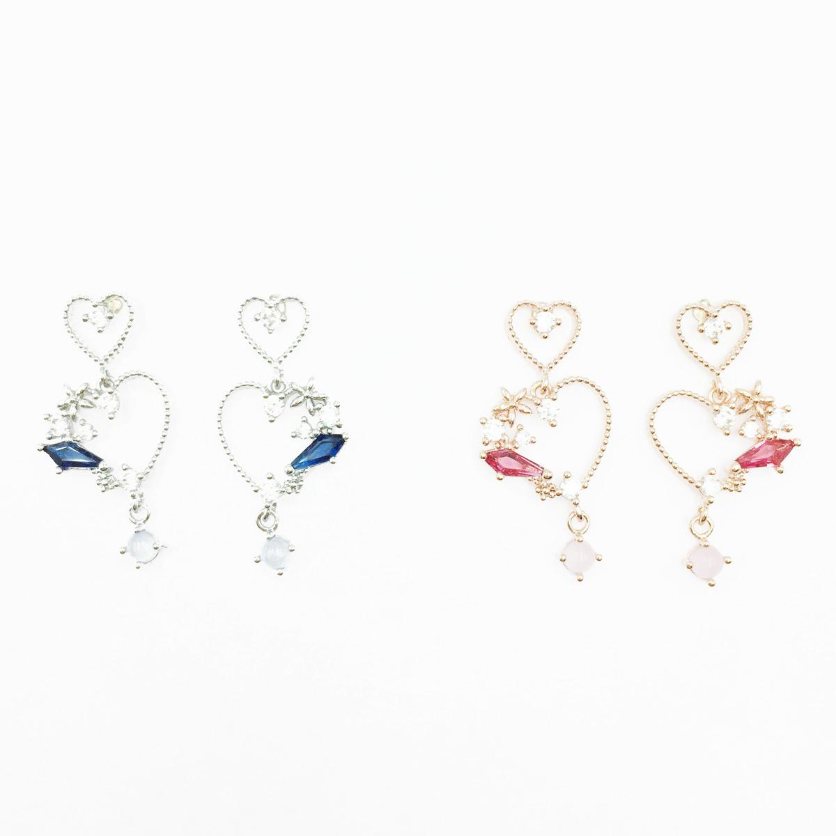 韓國 925純銀 簍空愛心 水鑽 2色 垂墜感 耳針式耳環