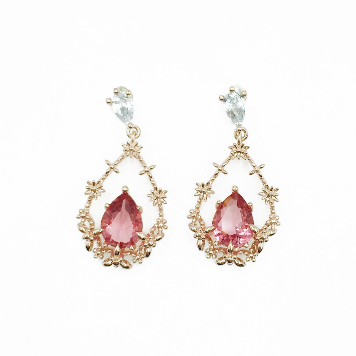 韓國 925純銀 花圈 水鑽 玫瑰金 垂墜感 耳針式耳環
