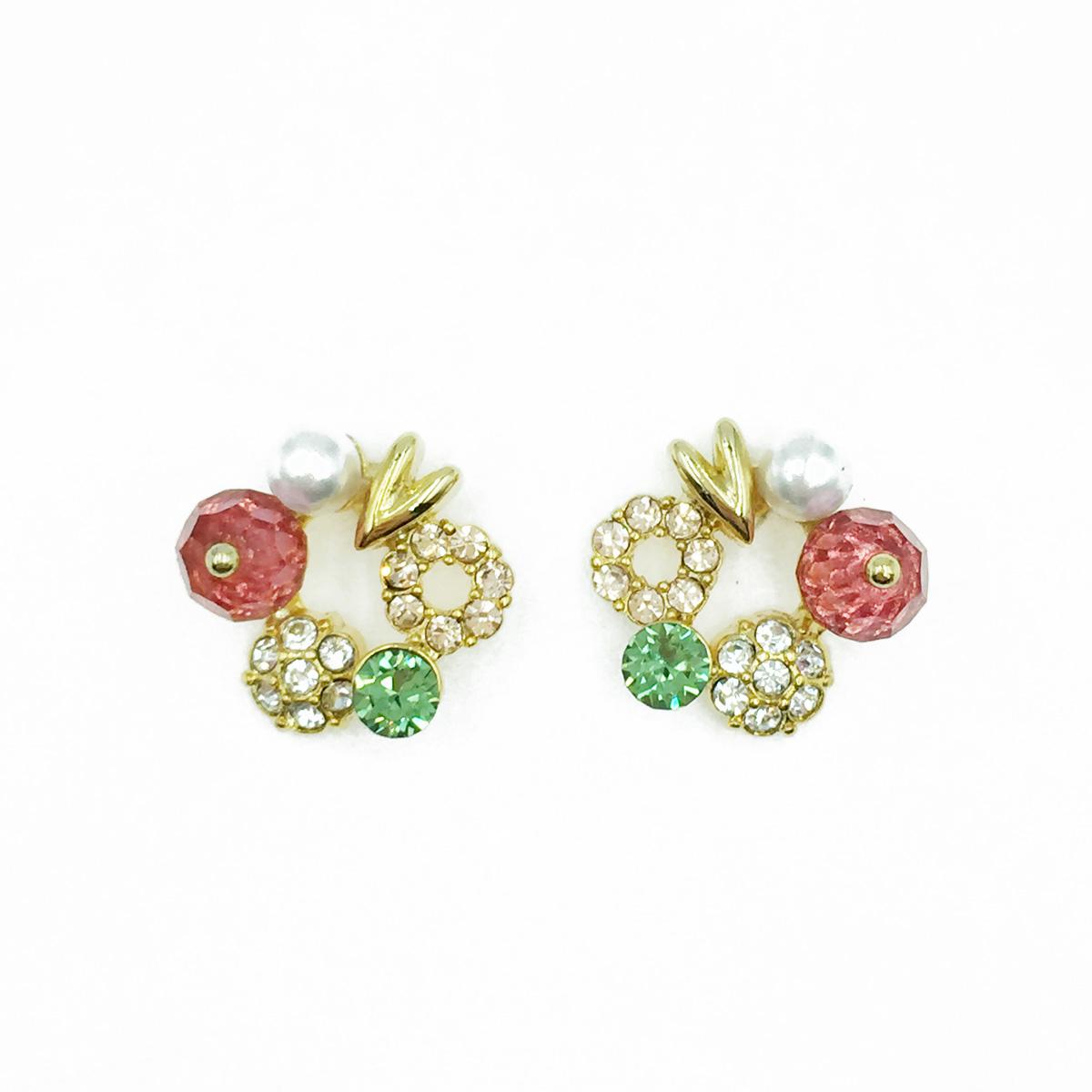 韓國 925純銀 水鑽 珍珠 透色水晶 耳針式耳環
