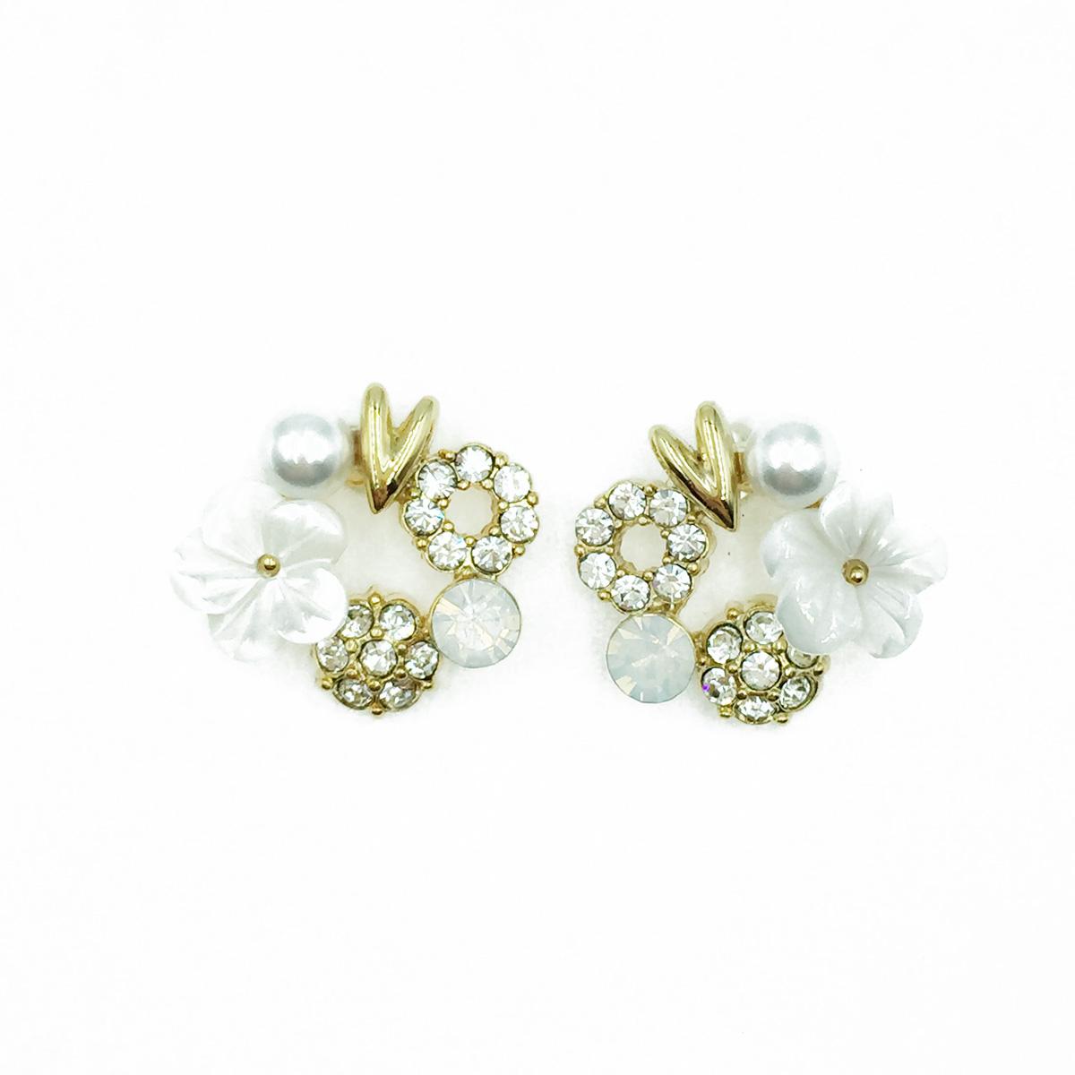 韓國 925純銀 白花 珍珠 水鑽 耳針式耳環