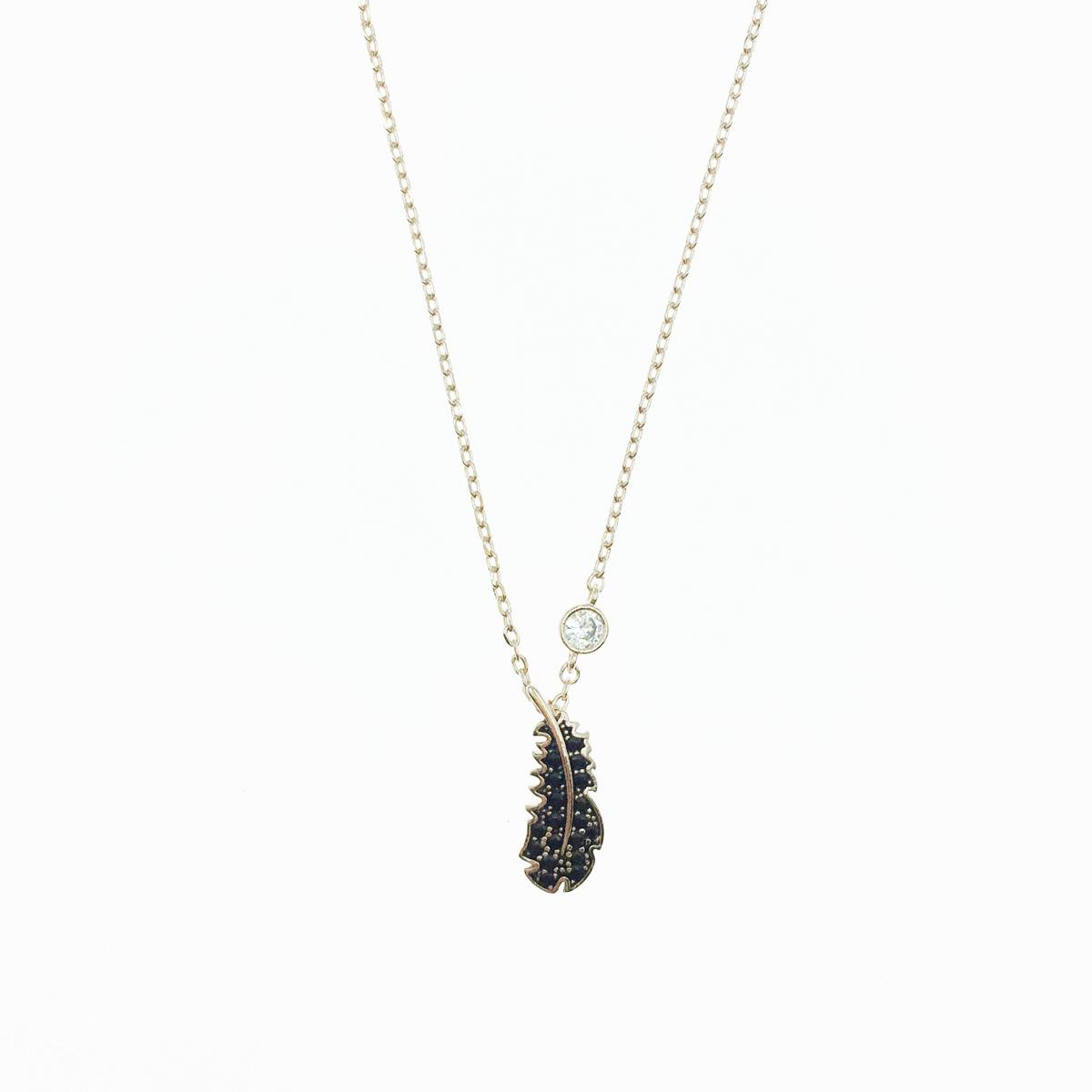 韓國 925純銀 羽毛 葉子 水鑽 黑鑽 玫瑰金 垂墜感 項鍊
