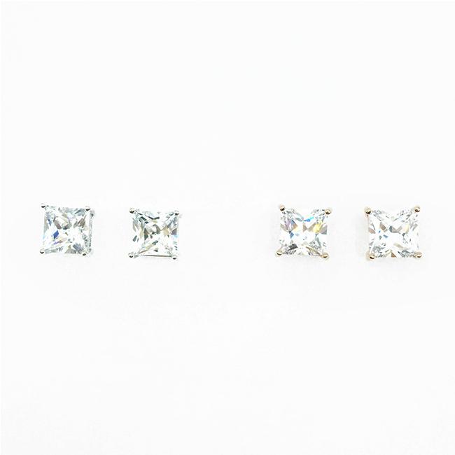韓國 925純銀 方鑽 水鑽 單鑽 簡約百搭款 2色 耳針式耳環