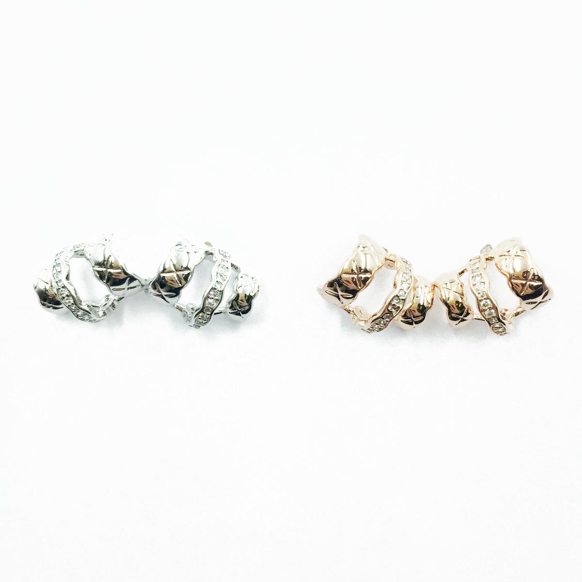 韓國 925純銀 X刻紋 C環圈 半圓 水鑽 2色 耳針式耳環