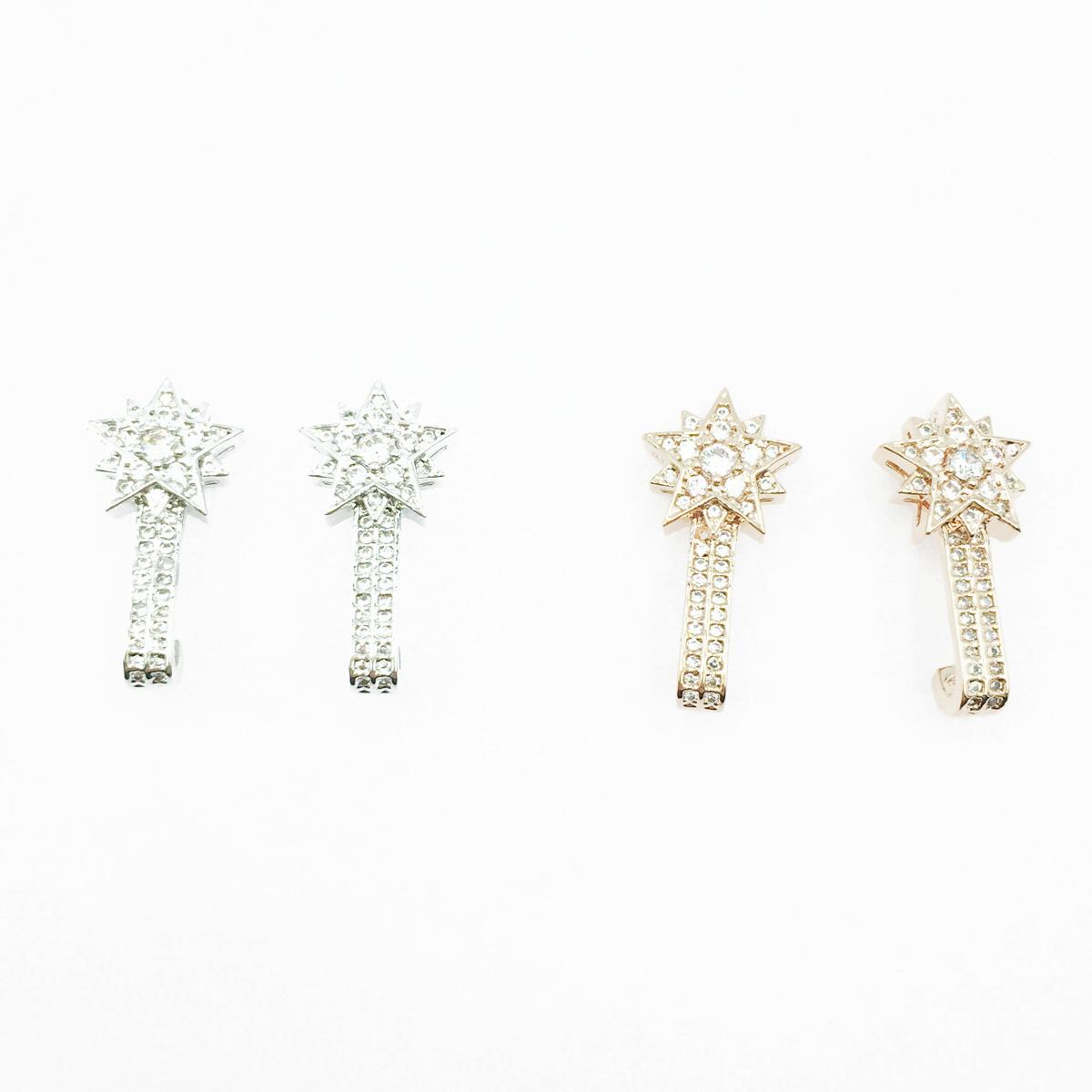 韓國 925純銀 星星造型 水鑽 精緻 2色 耳針式耳環