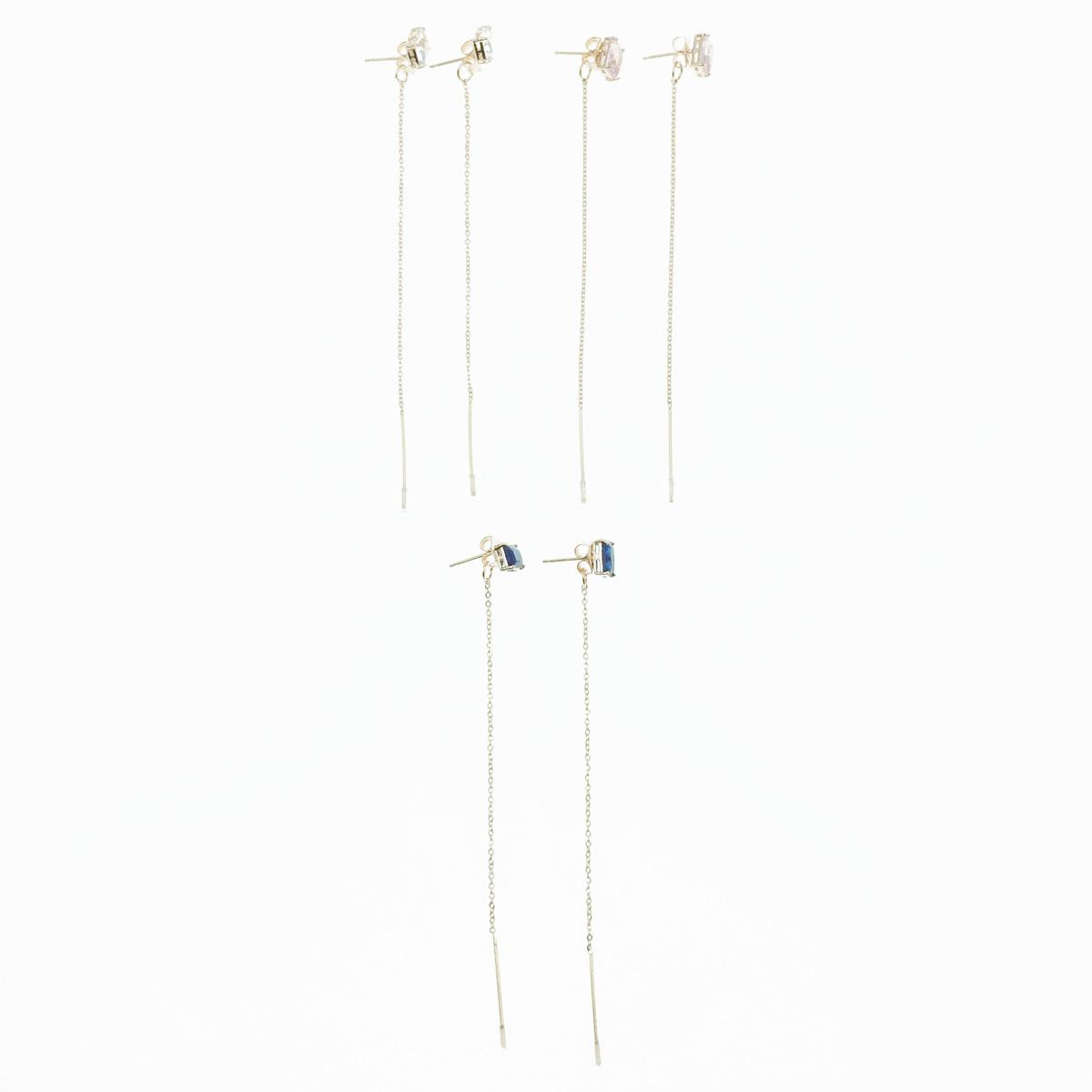 韓國 925純銀 水鑽 方鑽 玫瑰金邊 3色 垂墜感 耳針式耳環