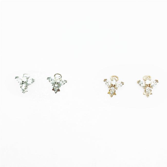 韓國 925純銀 水鑽 韓劇明星同款 簡約 2色 耳針式耳環