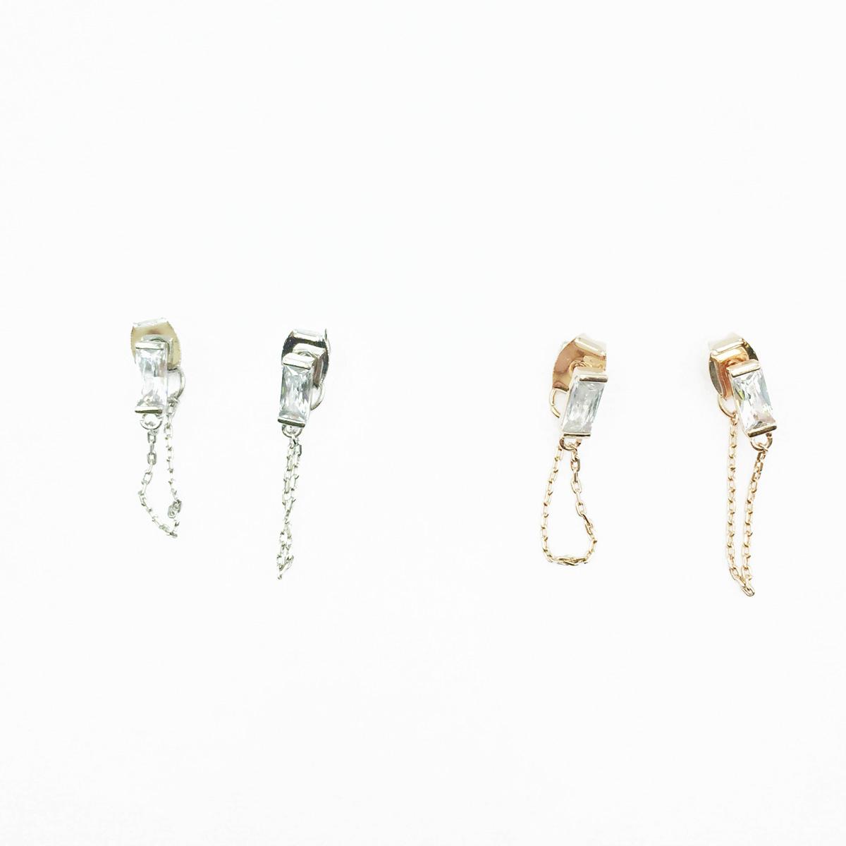 韓國 925純銀 長方水鑽 金屬鍊 優雅 2色 垂墜感 耳針式耳環