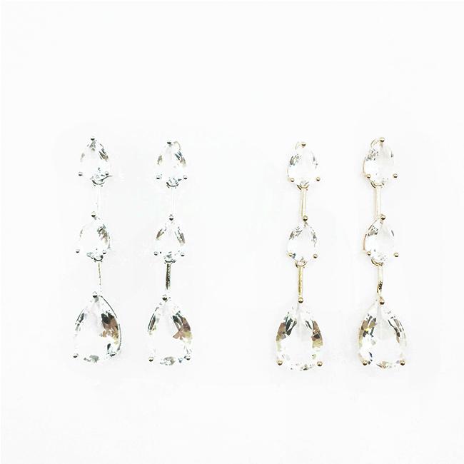 韓國 925純銀 水滴狀水鑽 精緻 2色 垂墜感 耳針式耳環