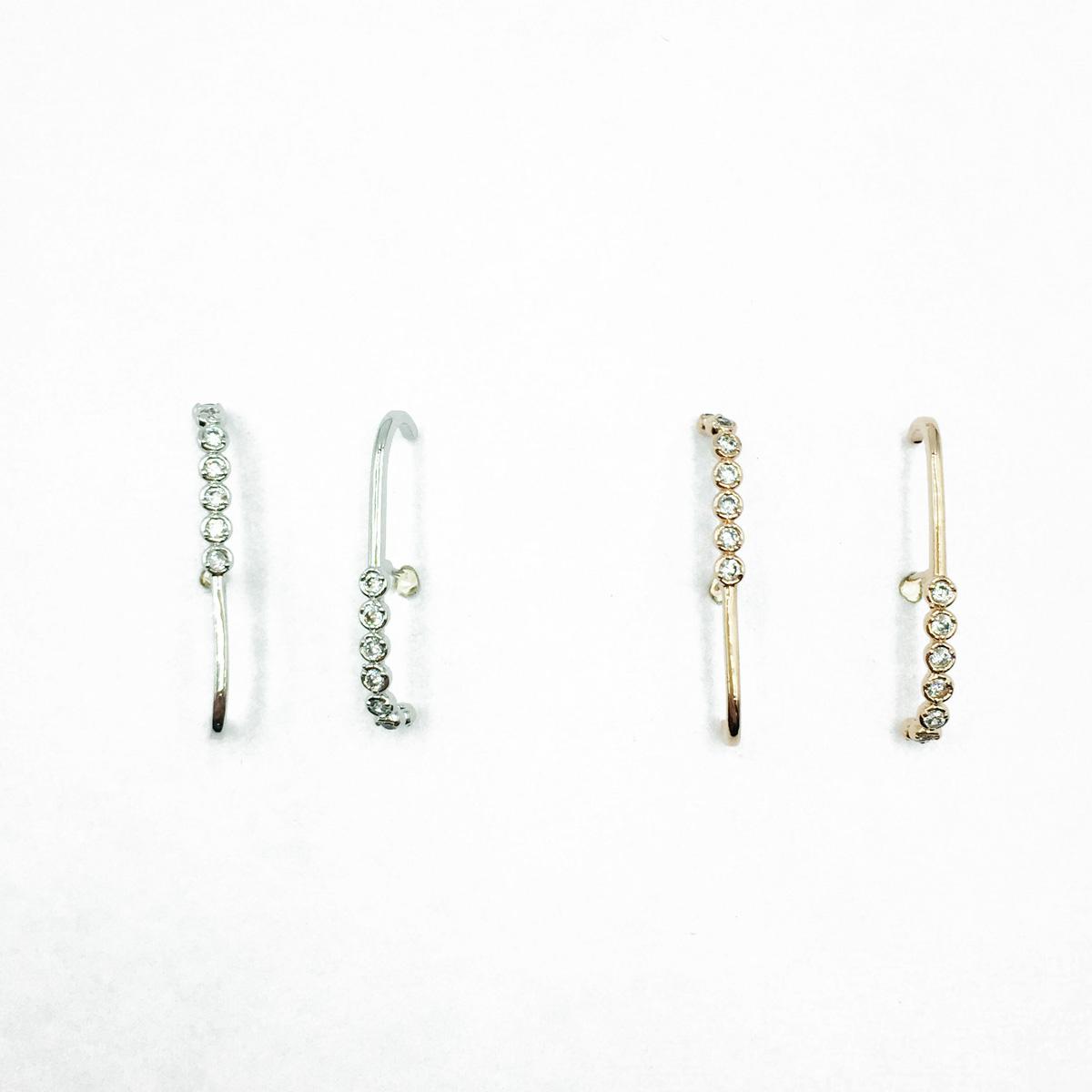 韓國 925純銀 水鑽 C型 銀 玫瑰金 簡約款 耳針式耳環