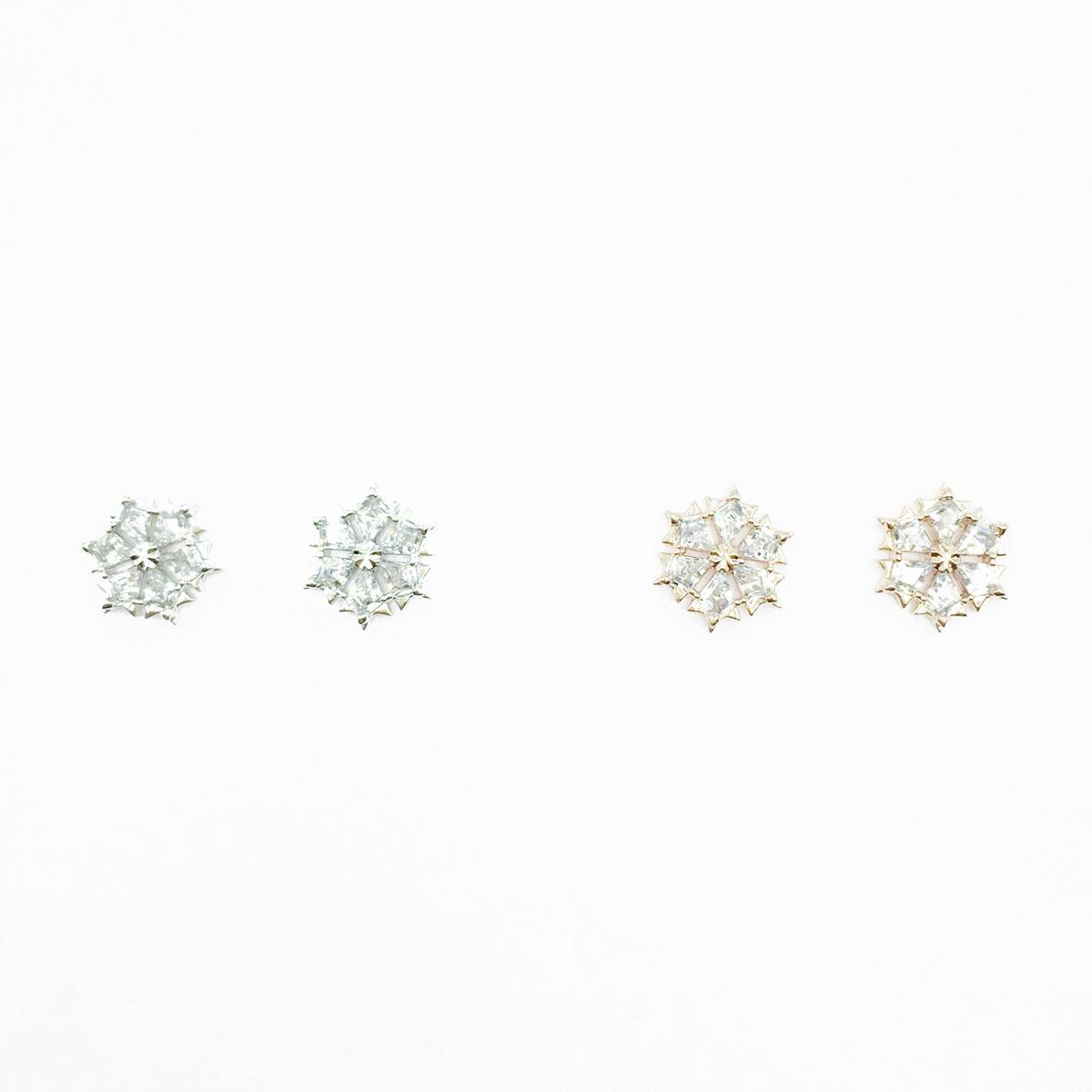 韓國 925純銀 雪花造型 水鑽 精緻款 2色 耳針式耳環