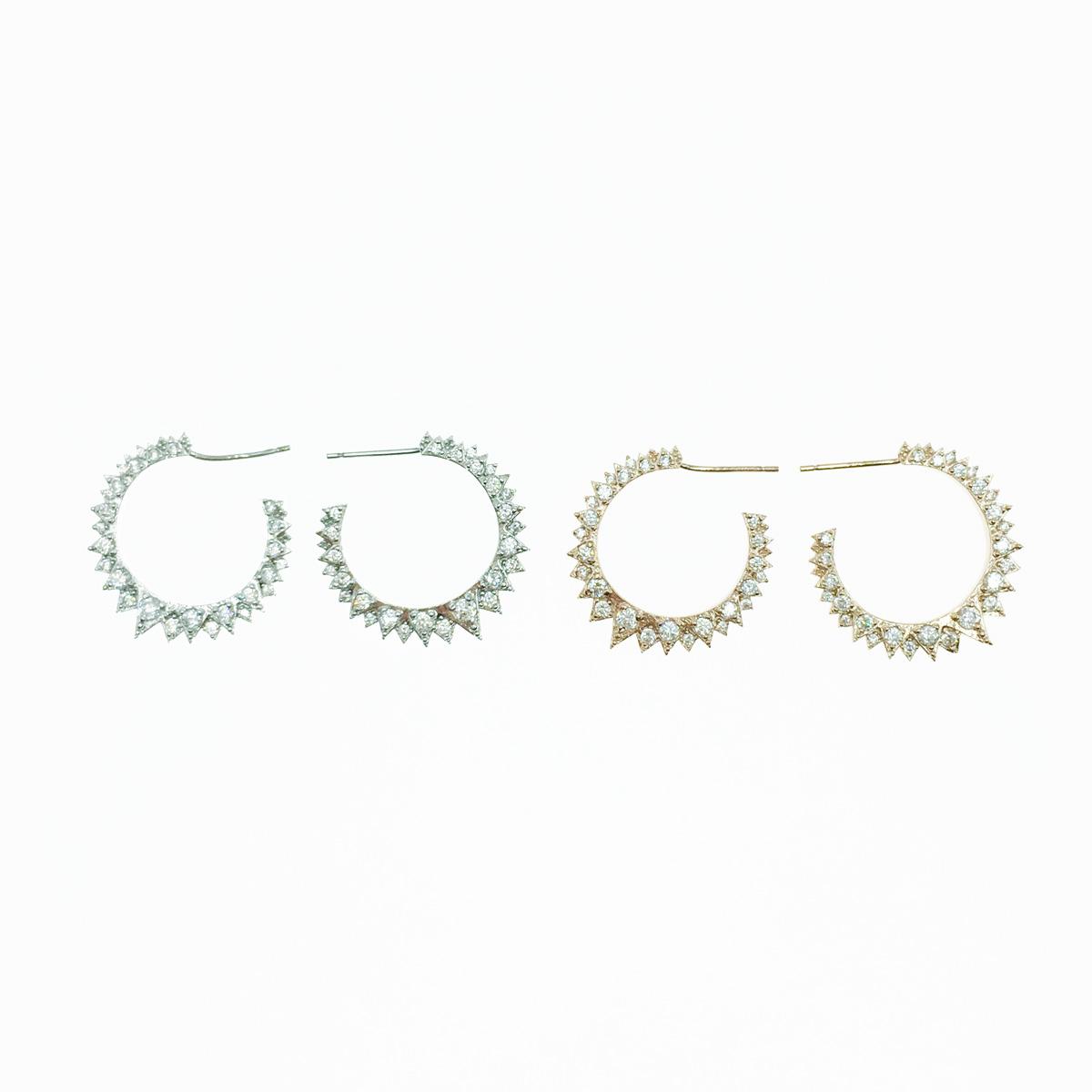 韓國 925純銀 鋸齒造型 水鑽 C環圈 2色 耳針式耳環