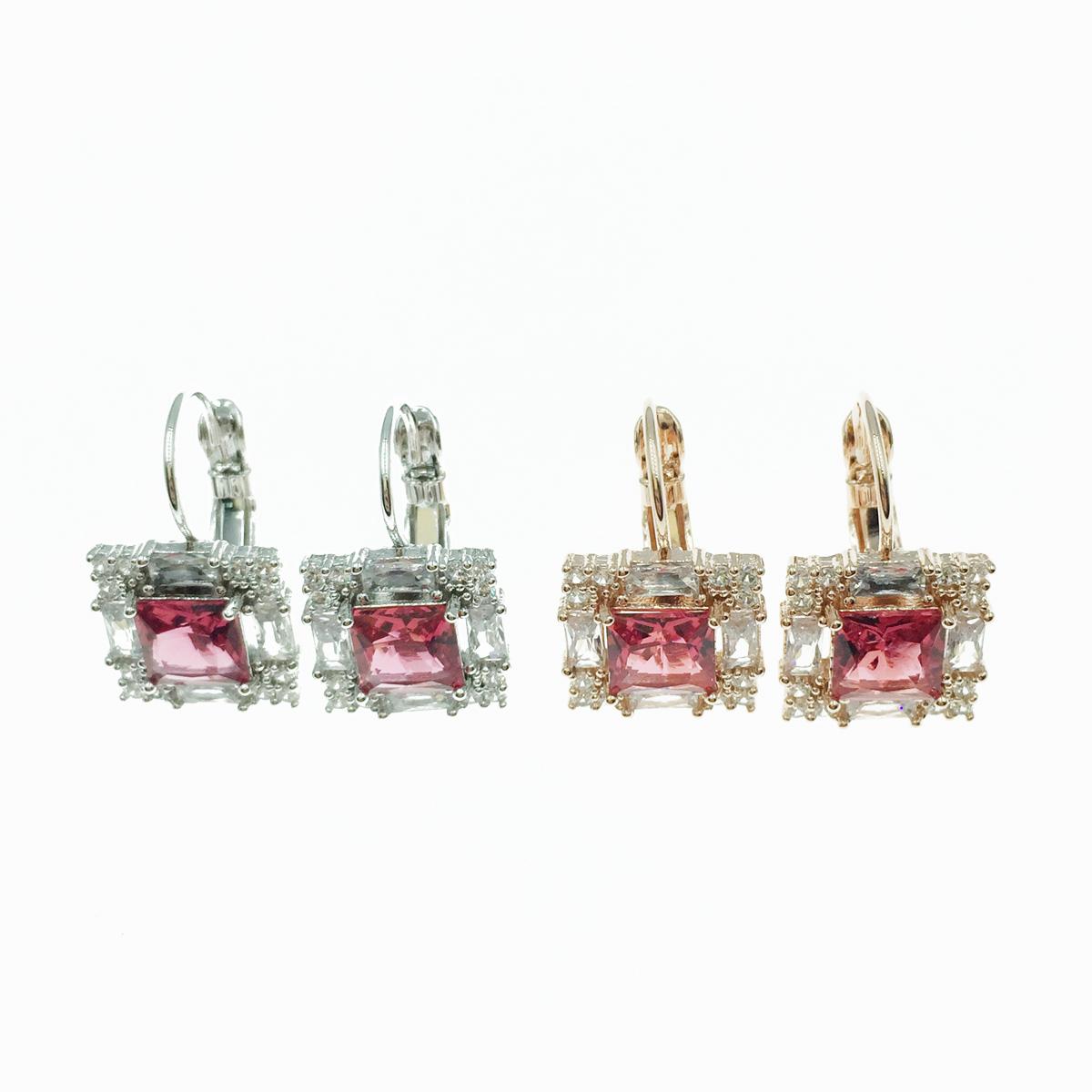 韓國 925純銀 水鑽 方鑽 高貴優雅 2色 垂墜感耳針式耳環