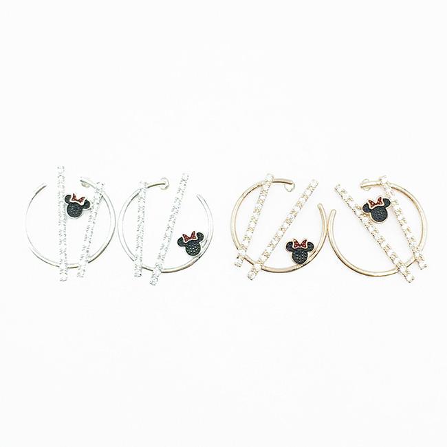 韓國 925純銀 迪士尼 米妮 開口圈 長條水鑽 2色 耳針式耳環