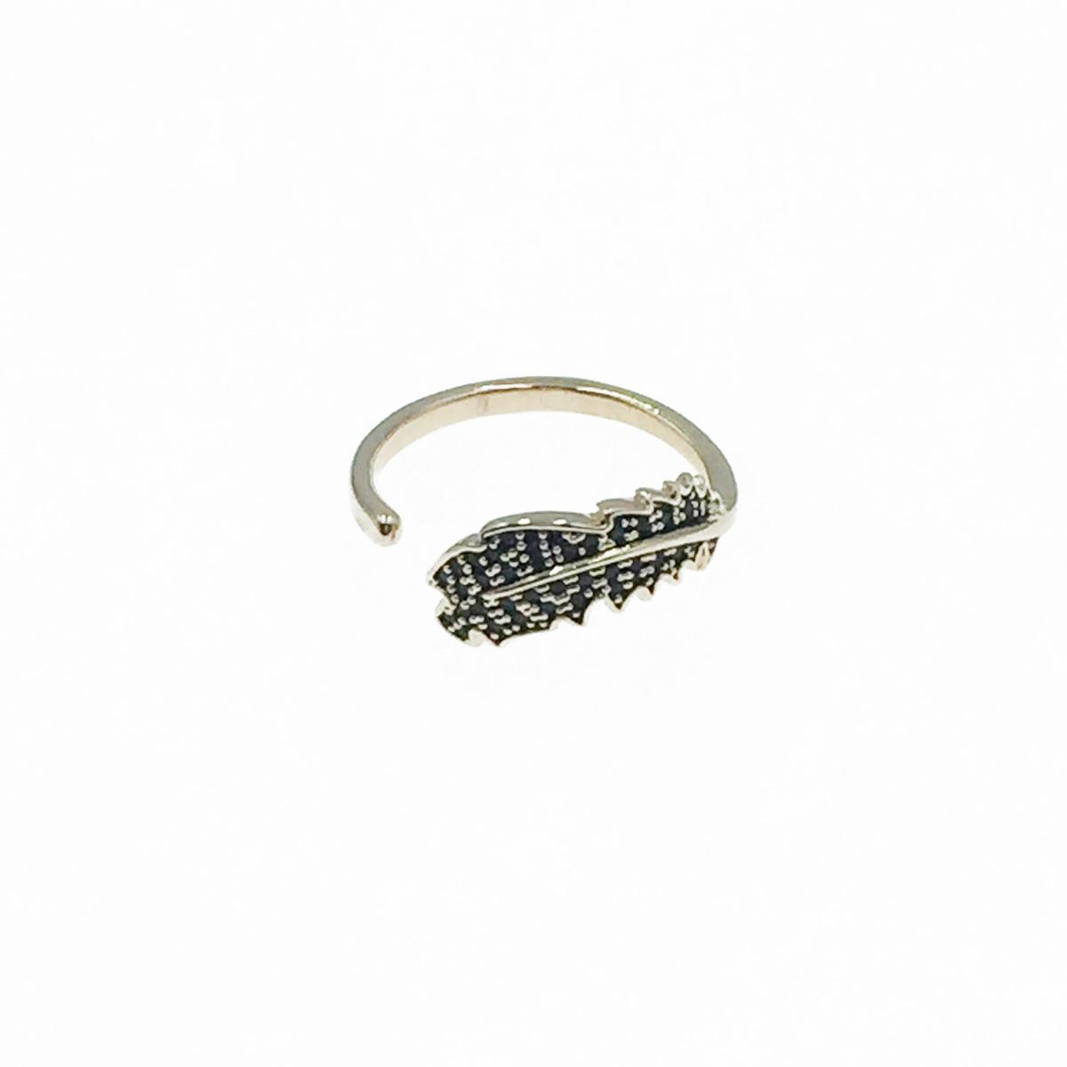 韓國 925純銀 羽毛 玫瑰金 可調式戒指