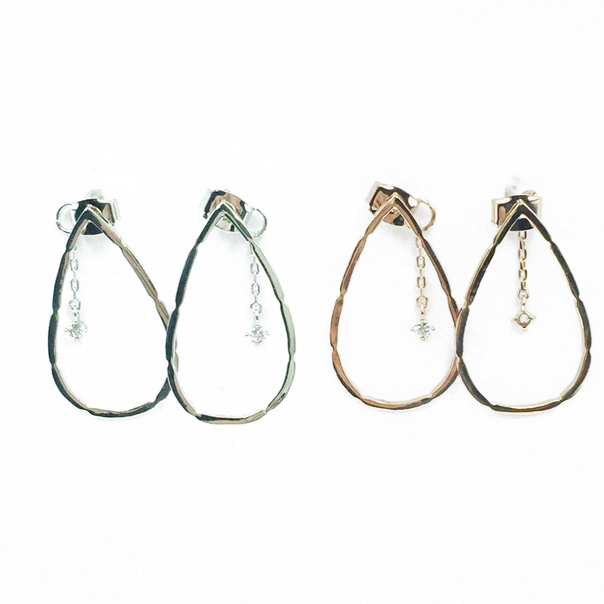 韓國 925純銀 簍空雨滴 兩色 垂墜感 耳針式耳環