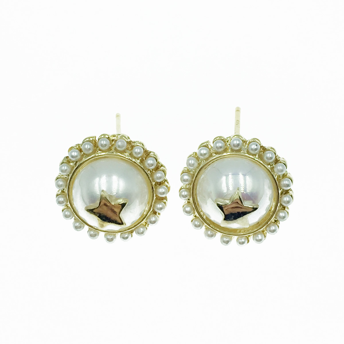 韓國 925純銀 珍珠 星星 金色 耳針式耳環