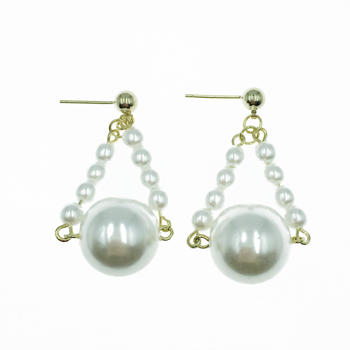 韓國 925純銀 珍珠 簍空三角 垂墜感 耳針式耳環