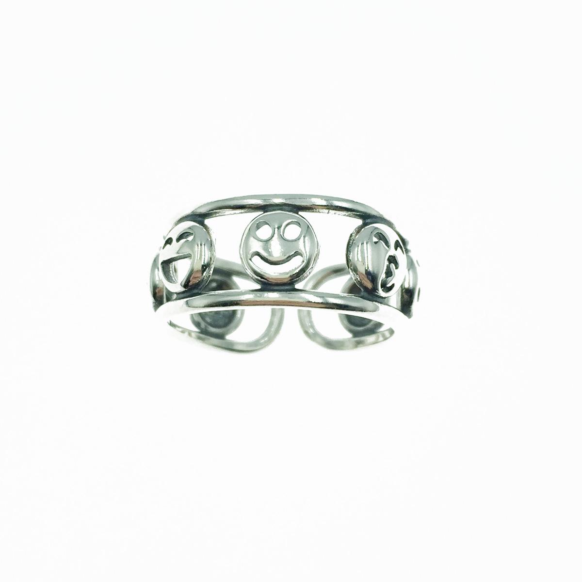 韓國 925純銀 簍空 微笑笑臉 金屬寬版 可調式戒指