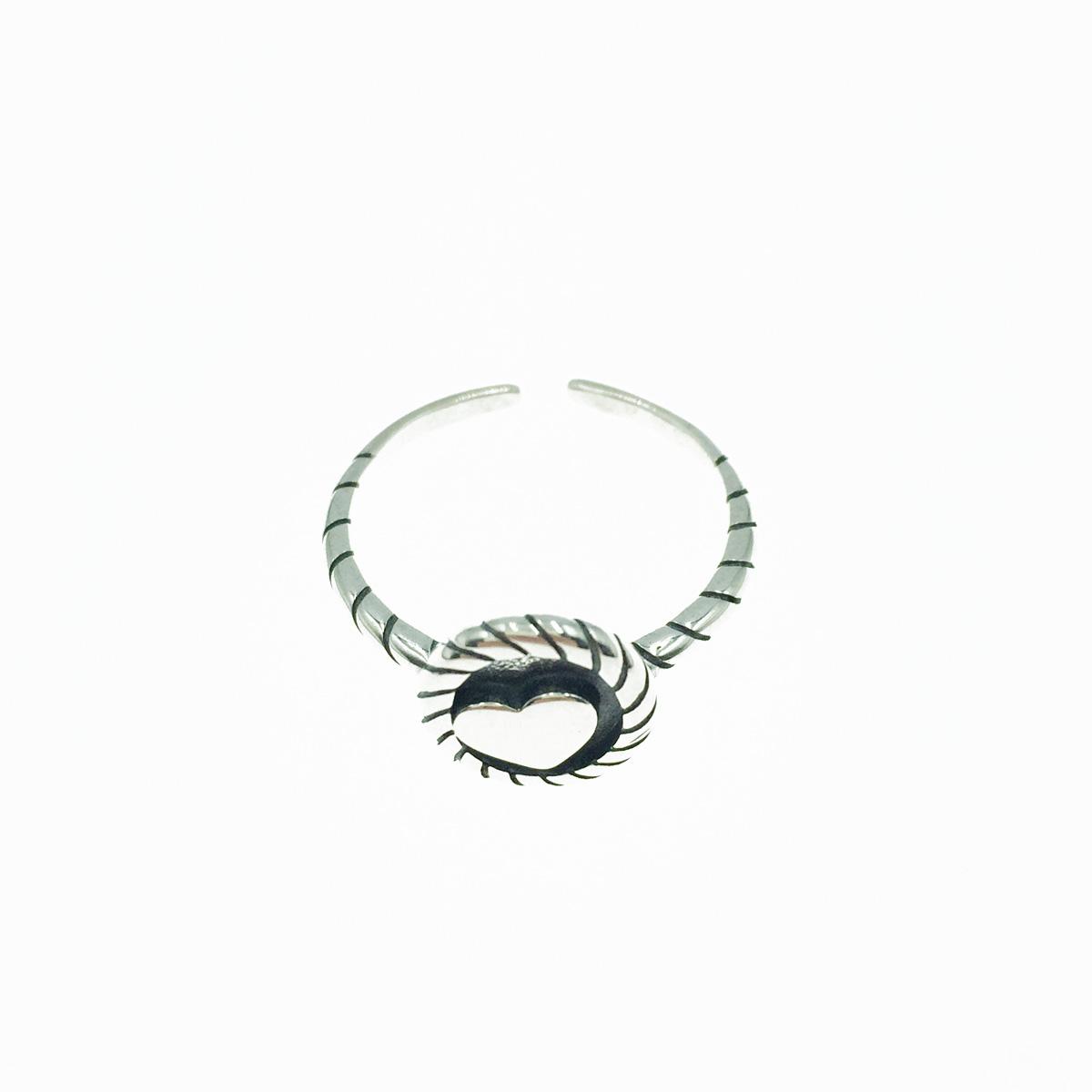 韓國 925純銀 愛心 歐美金屬風 可調式戒指