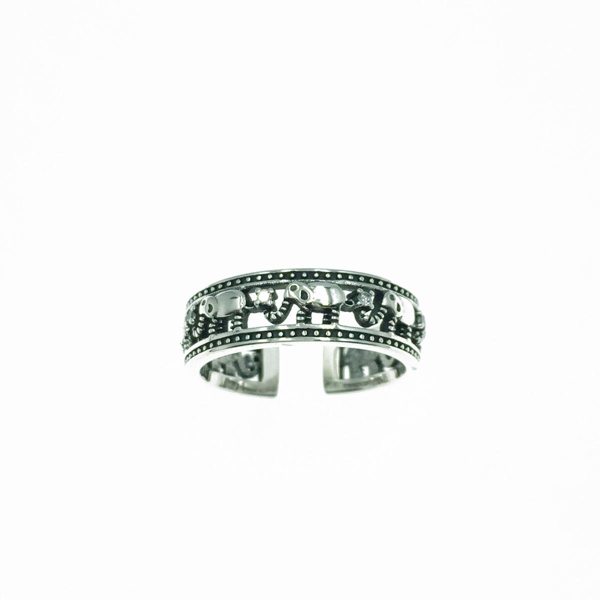 韓國 925純銀 大象圖騰 水鑽 簍空 可調式戒指
