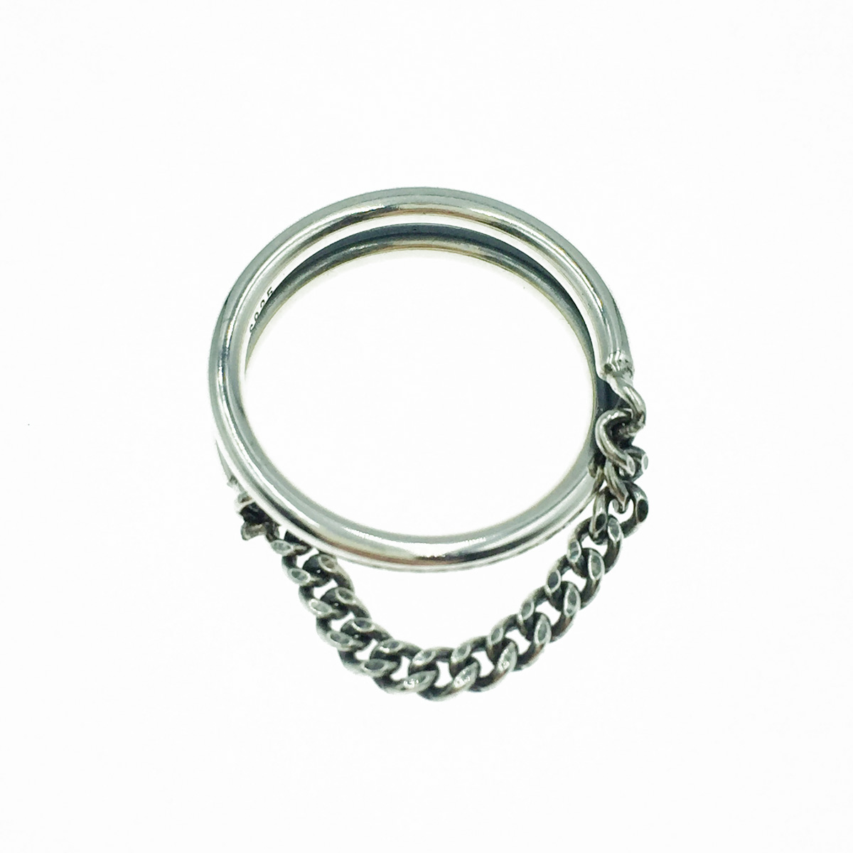 韓國 925純銀 金屬鎖鍊 個性款 垂墜感 戒指