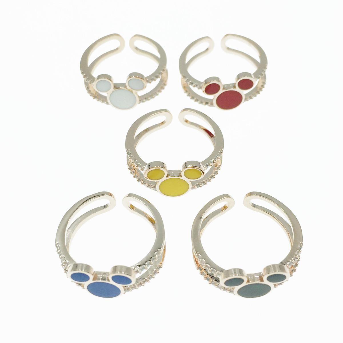 韓國 迪士尼 米奇 雙環圈 水鑽 玫瑰金 5色 可調式戒指