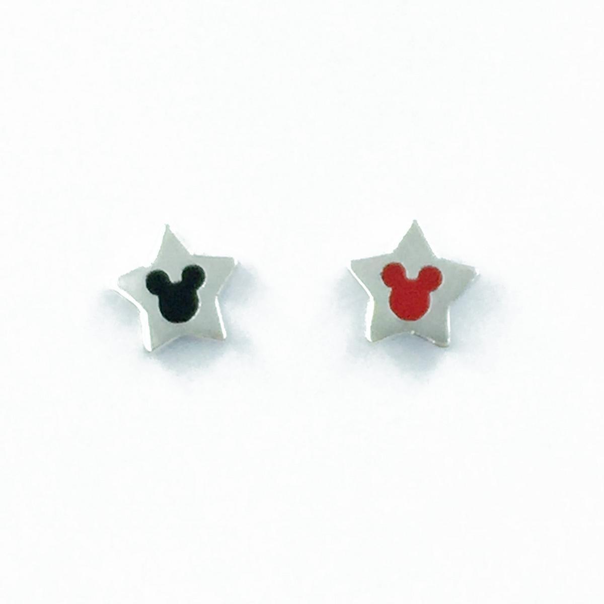 韓國 925純銀 迪士尼 米奇 星星 撞色 耳針式耳環