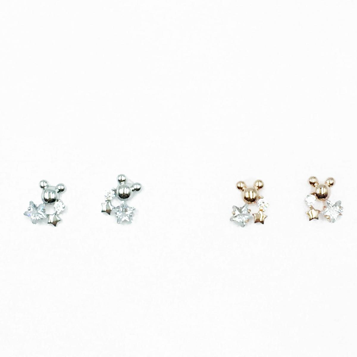 韓國 925純銀 迪士尼 米奇 水鑽 星星 2色 耳針式耳環