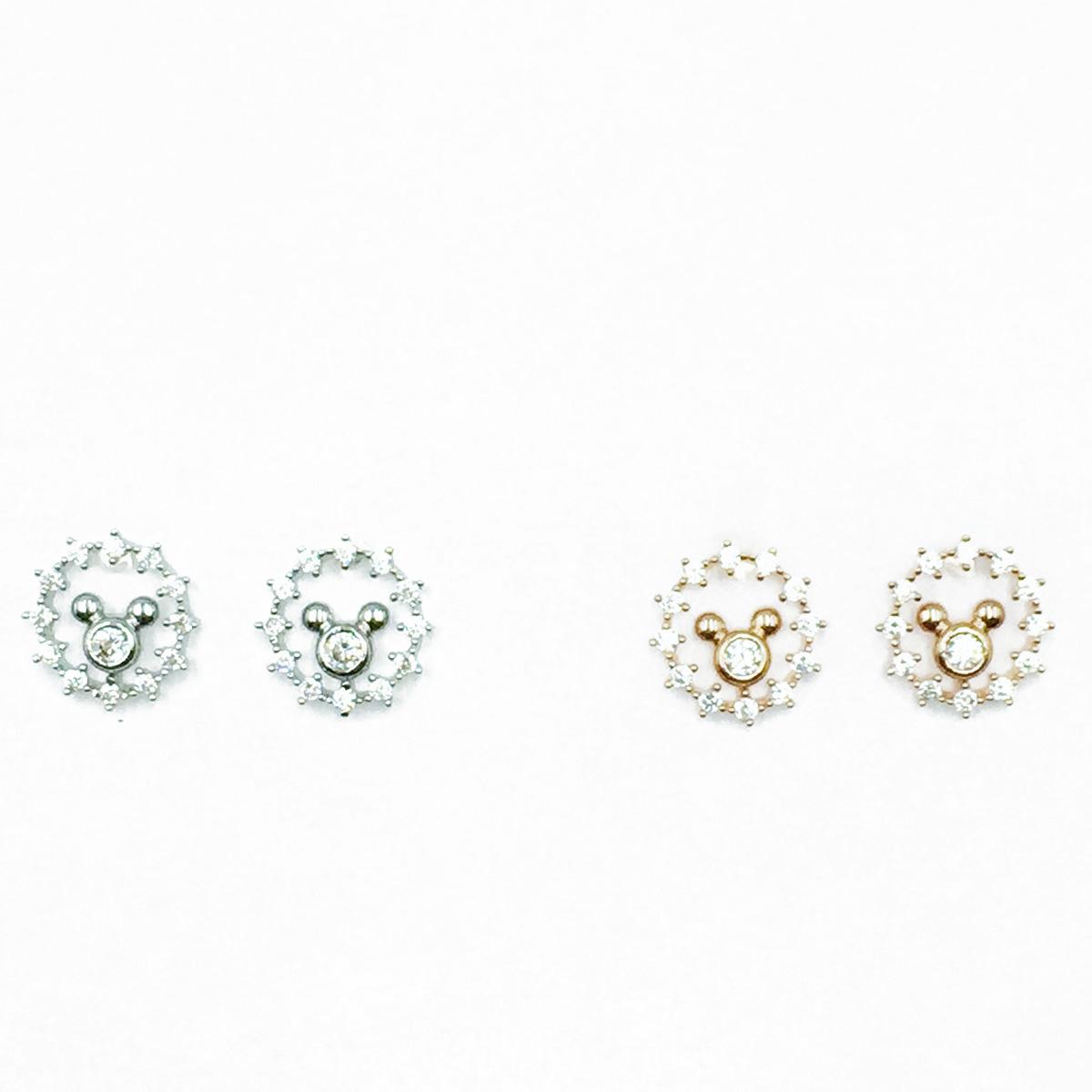 韓國 925純銀 迪士尼 米奇 水鑽 2色 耳針式耳環