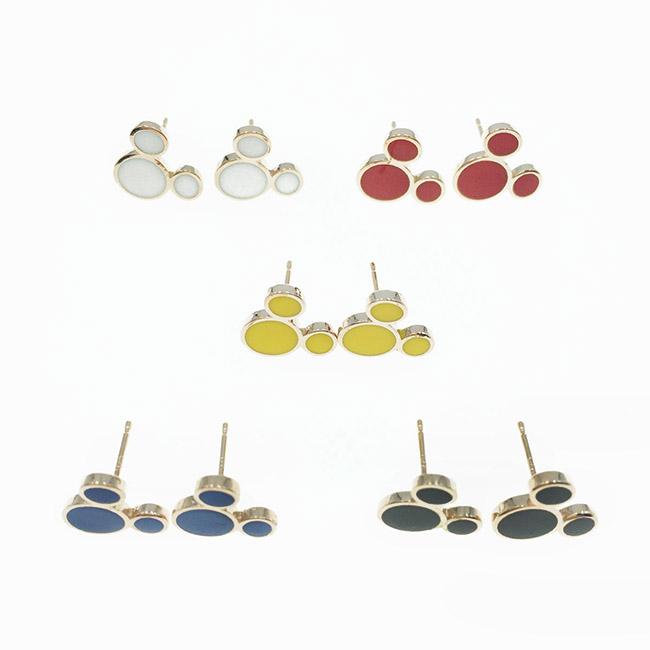 韓國 925純銀 迪士尼 米奇 玫瑰金 5色 耳針式耳環