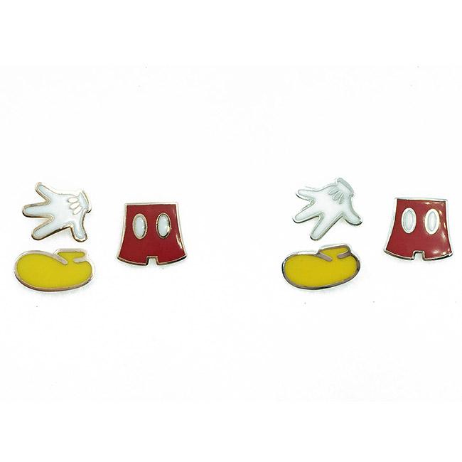 韓國 迪士尼 米奇 褲子 鞋子 手 3入組 耳針式耳環