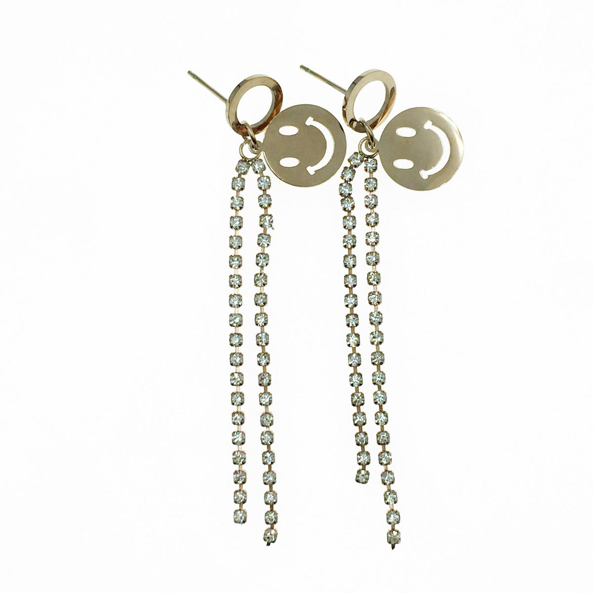 韓國 不鏽鋼 笑臉 水鑽 玫瑰金 垂墜感 耳針式耳環
