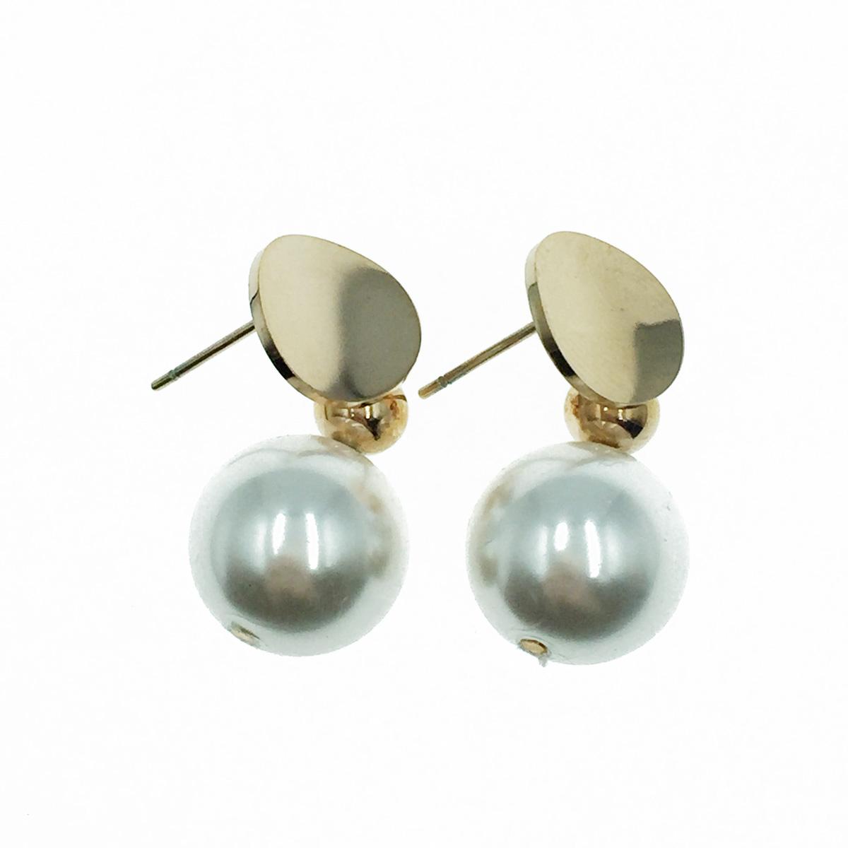 韓國 不鏽鋼 氣質珍珠 玫瑰金 垂墜感 耳針式耳環