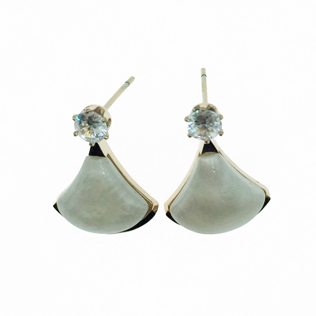 韓國 不鏽鋼 水鑽 人魚尾 大理石 質感 耳針式耳環