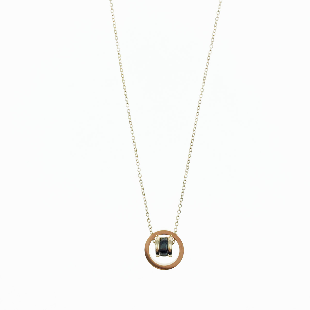 韓國 不鏽鋼 簍空圓 轉動滾輪 玫瑰金 單墜 項鍊