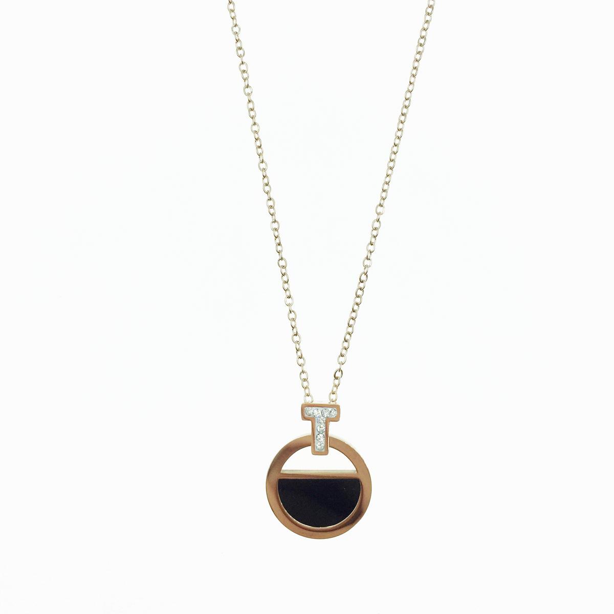 韓國 不鏽鋼 T字水鑽 圓 玫瑰金 單墜 項鍊