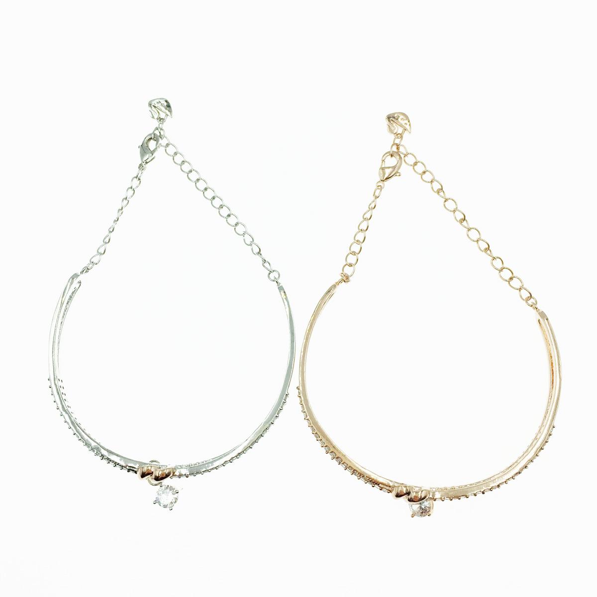 韓國 愛心 水鑽墜飾 2色 手飾 手鍊 手環