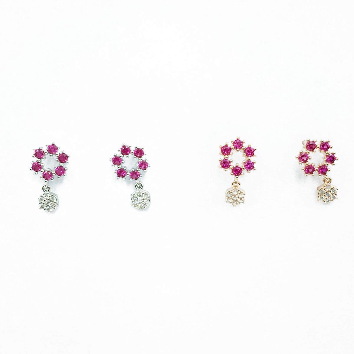 韓國 925純銀 水鑽 六角形 銀 玫瑰金 垂墜感 耳針式耳環