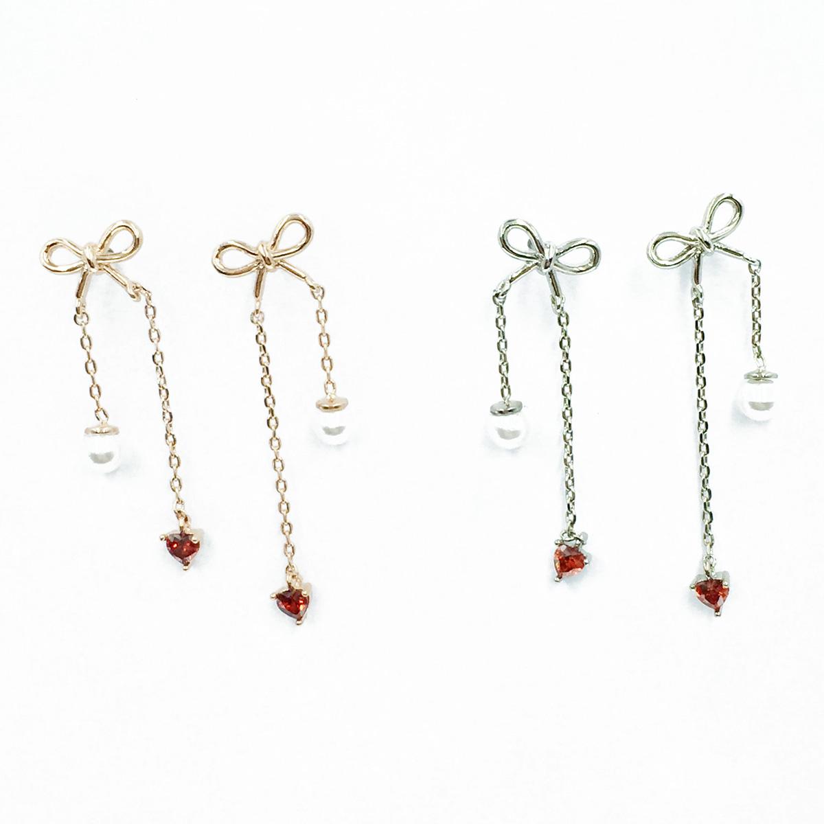 韓國 925純銀 蝴蝶結 愛心水鑽 珍珠 2色 垂墜感 耳針式耳環